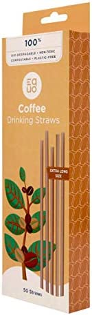 Coffee Straws - EQUO 100% Biodegradable, Natural, Compostable, Plastic-Free, Eco-friendly, Sustainable Drinkin