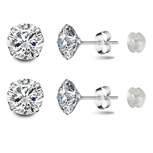 Stud Earrings Platinum Plated Sterling Silver Round Cut Cubic Zirconia 8mm 2.5 Carat Fashion Jewelry for Women & Girlss Ear Lobe with Gift Box