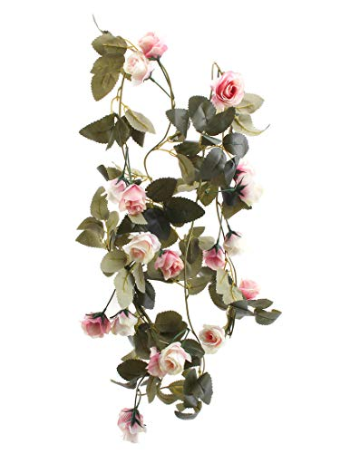 Flojery 6.8 Ft Silk Flower Vines for Wedding,Hanging Rose Garland  Home Decor,Artificial Rose Vine for Party(Pack of 2)(Light ()