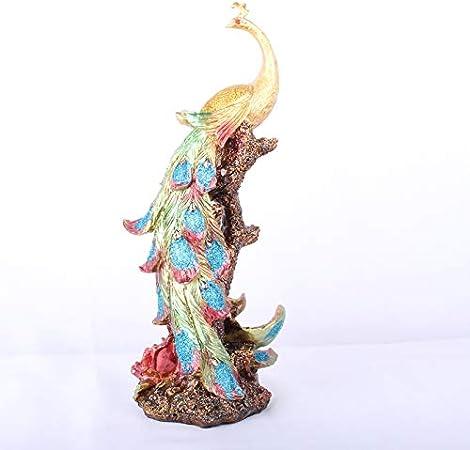 LUSU Decorativos Figuras Salon Candelabros De Jardin Exterior Miniatura Resina Artesanal Regalo Elegante Hermosos Adornos De Pavo Real: Amazon.es: Hogar