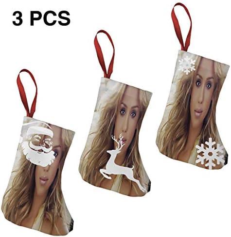 クリスマスの日の靴下 (ソックス3個)クリスマスデコレーションソックス ジェシカ アルバJessica Alba クリスマス、ハロウィン 家庭用、ショッピングモール用、お祝いの雰囲気を加える 人気を高める、販売、プロモーション、年次式