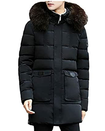 ainr Men's Jackets Winter Fashion Warm Long Padded Hooded