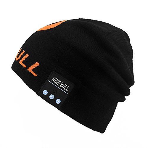 Button Up Wool Cap (NINE BULL Bluetooth Beanie Wool Hat For Women Men Winter Warm Soft Slouchy Beanies (Black and Orange))