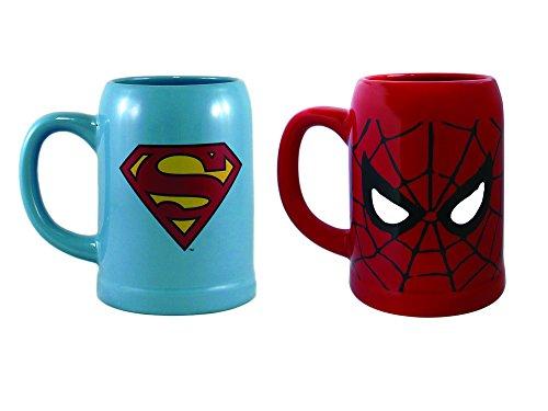 Marvel Spiderman / Superman Ceramic Mug Set, 22 Ounces