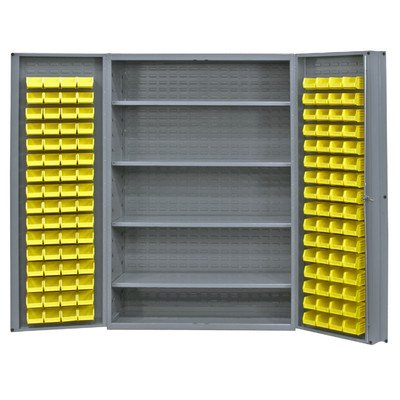 Durham Heavy Duty Welded 14 Gauge Steel Cabinet with 128 Bins, DC48-128-4S-95,  700 lbs Capacity,  24
