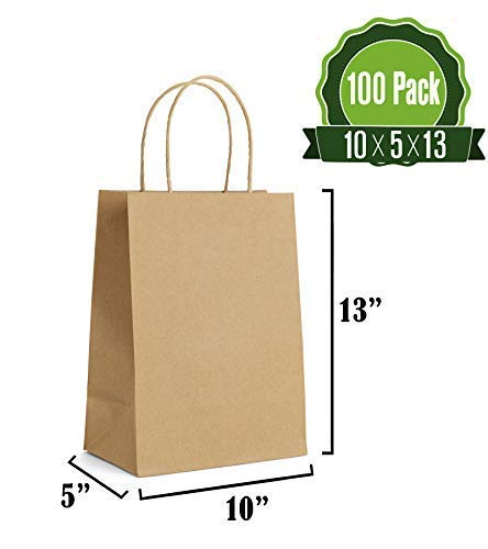 Brown Kraft Paper Gift Bags Bulk with Handles 10 X 5 X 13 [100Pc]. Ideal for Shopping, Packaging, Retail, Party, Craft, Gifts, Wedding, Recycled, Business, Goody and Merchandise Bag
