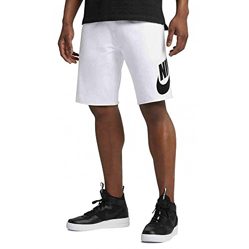 NIKE Mens Sportswear Logo Shorts White/Black 836277-100 Size - Cotton Badger Shorts