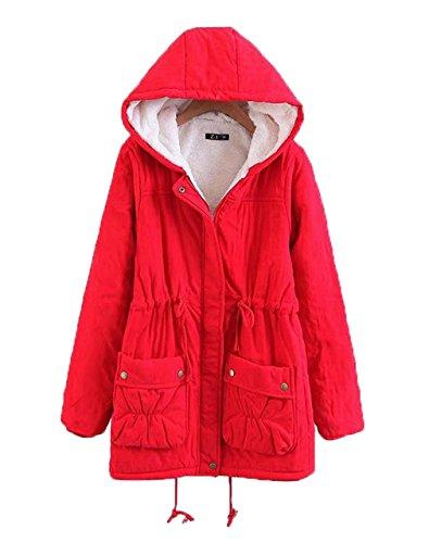 Puffer abrigo Occidente acolchada lana capucha larga Cordero COMVIP Mujeres de con Rojo ROqBEgw