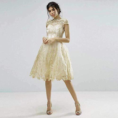 Alta Con Eleganti Sposa Hepburn Dress A Vita Retrò Principessa Sera Party Abiti Spiaggia Da Pizzo Beige Ricamo Impunture Oudan In XPqgZZ