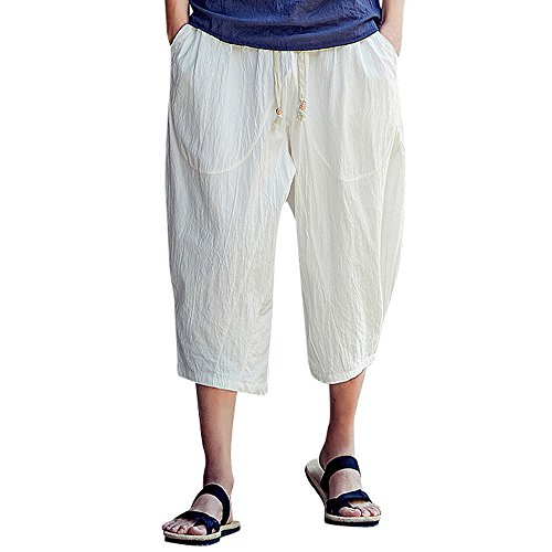 Corriee Cotton Linen Shorts for Men Mens Baggy Calf-Length Harem Pants Loose Solid Color Trousers with Pockets - Shorts Length Calf