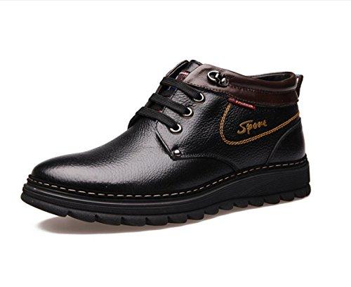 WZG zapatos calientes del invierno botas de cuero de los hombres calientes botas de algodón zapatos calientes del invierno de los hombres de algodón, zapatos casuales Black
