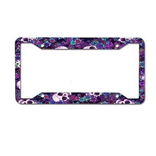 NgkagluxCap Custom Floral Plum Purple Sugar Skull Print License Plate Frame Quality Aluminum License Plate Cover for US and Canada Vehicles 4 Holes and Screws ()