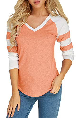 Foshow Womens Long Sleeve Raglan Baseball Tee Jersey Striped V Neck Blouses Tshirts (X-Large, Pink)