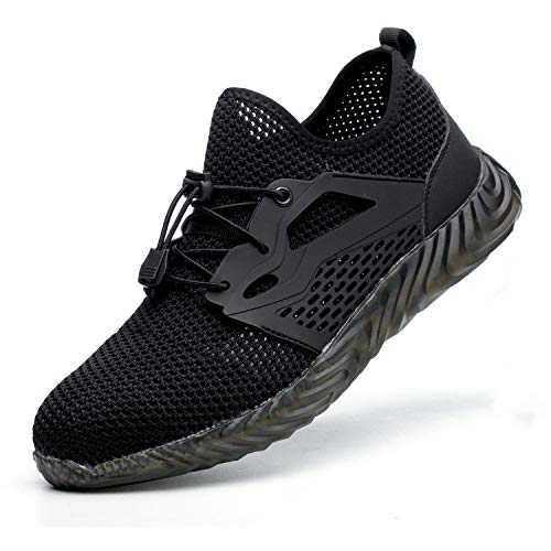 JACKSHIBO Steel Toe Indestructible Work Shoes for Men Women Lightweight Mesh Safety Industrial Construction Shoes 825 Black9.5 Women/8 Men (Best Dance Moves Ever)