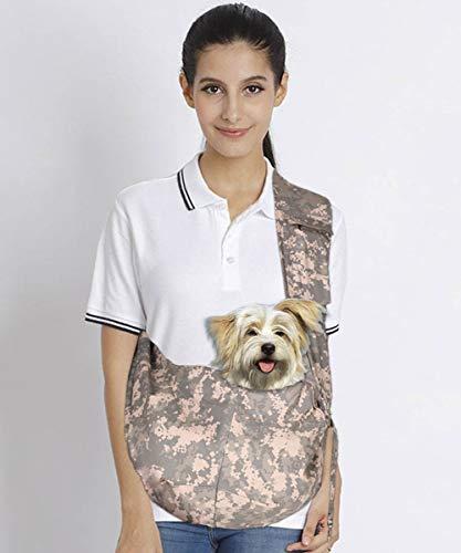 AMOFY Pet Dog Cat Carrier Sling Bag Adjustable Strap Comfortable Safe Portable Hands Free Pet Outdoor Travel Bag, Fit Small & Medium Dog Cat (Camouflage Carrier Dog)