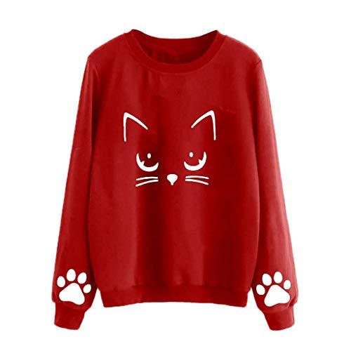 (Cat Sweaters for Women, Women's Cat Print Sweatshirt Long Sleeve Loose Pullover Shirt (Red 02, 3XL))
