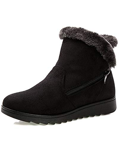 Lined Women's Snow Fur Sneaker Black Boot Suede Flat Duberess Winter Shoes Sf0P4q