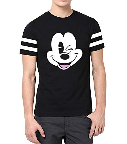 Mens Mickey Mouse Graphic Shirt - Adult Mickey Face Tee Shirt for Men (L)