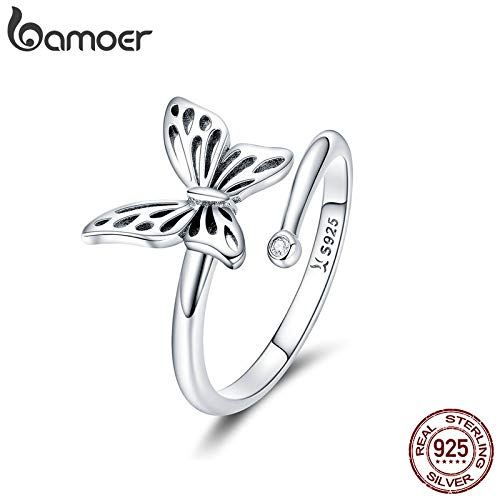 (Authentic 925 Sterling Silver Vintage Butterfly Adjustable Finger Rings | Wedding Engagement Ring | Jewelry for Women)