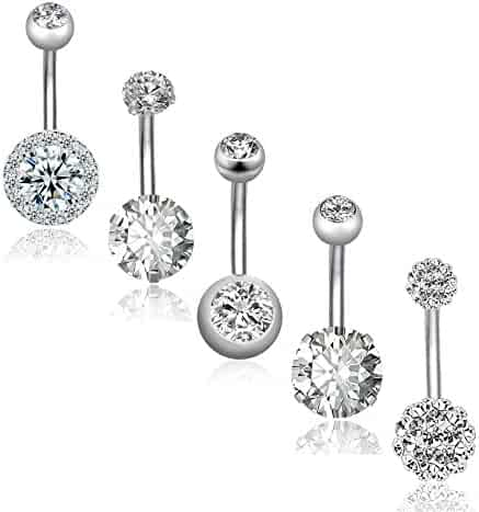 REVOLIA 5Pcs 14G Stainless Steel Belly Button Rings for Women Girls Navel Rings CZ Body Piercing
