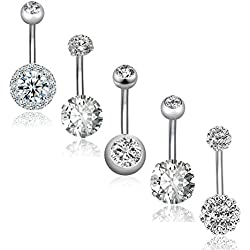 REVOLIA 5Pcs 14G Stainless Steel Belly Button Rings for Women Girls Navel Rings CZ Body Piercing S