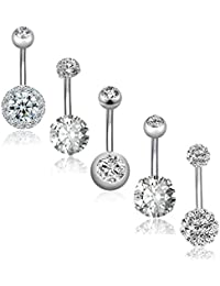 5Pcs 14G Stainless Steel Belly Button Rings for Women Girls Navel Rings CZ Body Piercing
