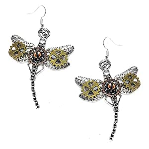 Joji Boutique Steampunk Collection: Large (2″) Mix-tone Dragonfly Drop Earrings
