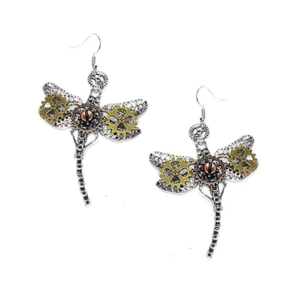 Joji Boutique Steampunk Collection: Mix-Tone Dragonfly Drop Earrings 3