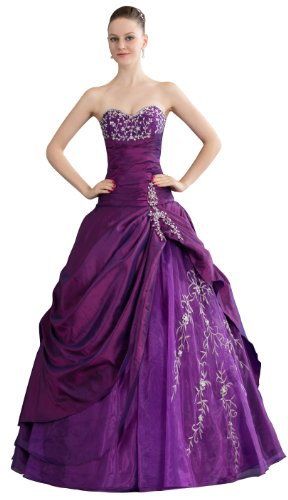 ImPrincess ip4-5264-16 Wedding Dress Medieval Style Sweatheart Strapless Tie Delicate Beading Embroidery Long Sweep Ball gown Purple (Taffeta Tie Dress Strapless)