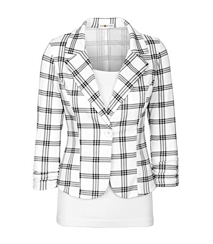 Auliné Collection Women's Casual Work Solid Color Knit Blazer Ivory Checker Large