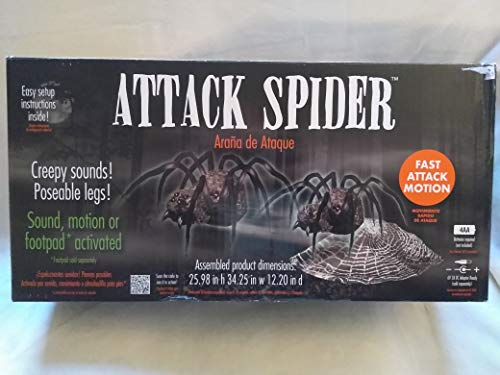 Animatronics Halloween Prop Decor Haunted House Super Scary Attack Spider, Creepy Sounds & Poseable Legs, Sound Motion Or Footbad Activated with Fast Attack Motion, Spider Jumps Out at You with Sound