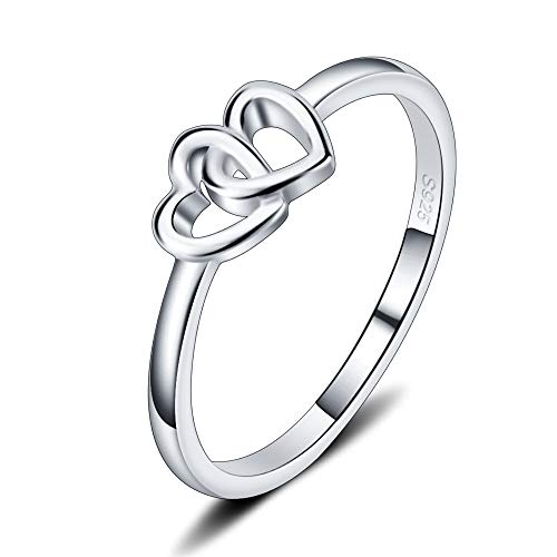 LGSY Double Heart Rings, S925 Sterling Silver Thin Rings, Wedding/Engagement/Promise Rings for Fashion -