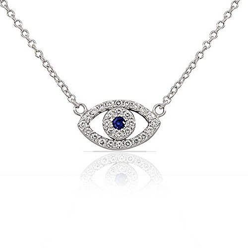 925 Sterling Silver Evil Eye Hamsa White Blue CZ Womens Pendant Necklace - Evil Eye Silver Necklace Pendant