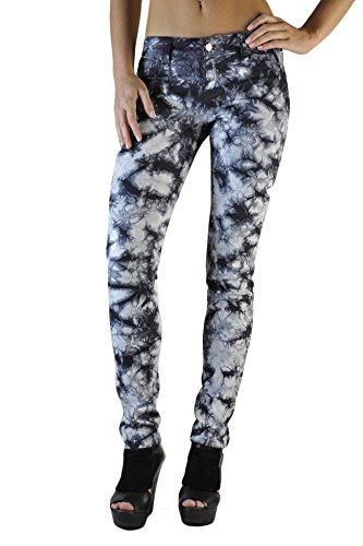 (Standards & Practices Women's Stretch Denim Dark Tie Dye Print Skinny Jeans, Graphite, 27 x 32Length)