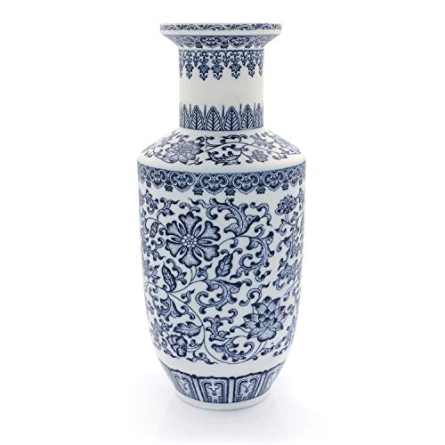 (Tuumee Vintage Blue and White Porcelain Unglazed Vase, Ideal Gift for Weddings, Party, Home Decor, Office Décor,10
