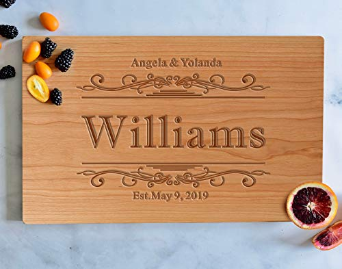 Personalized Engraved Cutting Board, Custom Cherry Wood Serving Board, Wedding Gifts for the Couple, Housewarming Chopping Board