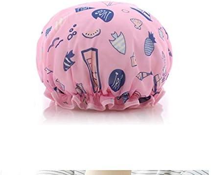 CQIANG シャワーキャップ、レディースシャワーキャップレディース用のすべての髪の長さと太さのデラックスシャワーキャップ - 防水とカビ防止、再利用可能なシャワーキャップ。 (Color : Pink)
