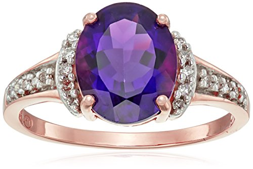 10k Rose Gold Oval Amethyst and Diamond Ring (1/10cttw), Size 7
