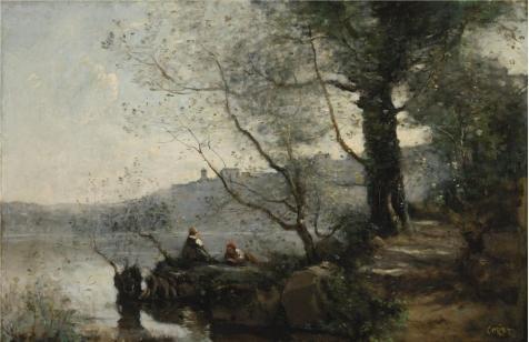 Oil painting ` Jean Baptiste Camille Corot  View of Lake Garda  1865–1870`印刷ポリエステルキャンバスに、8x 12インチ/ 20x 31cm、The BestロビーアートワークとホームギャラリーアートとギフトはこのReproductionsアート装飾キャンバスプリントの商品画像