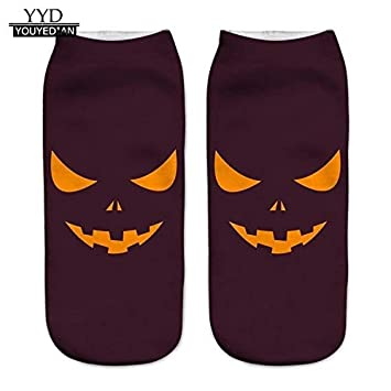 3D Halloween Pumpkin Printing Medium Socks Women calcetines mujer (ship from US)