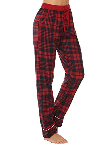 iClosam Women's Pajama Bottoms 100% Cotton Sleepwear Check PJS Lounge Pants Trousers(S-XXL) Navy Red ()