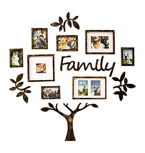 Jerry & Maggie - Photo Frame | Plaque College Frame - Wall Decoration Combination - Brown PVC Picture Frame Selfie Gallery Collage with Hanging Template & Wall Mounting Design | Family Tree (Wall Tree Photo Frame)