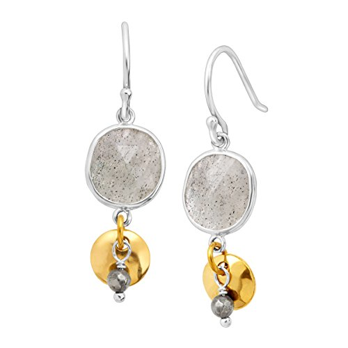 - Silpada 'Stepping Stone' Natural Labradorite & Pyrite Drop Earrings in Sterling Silver & Brass