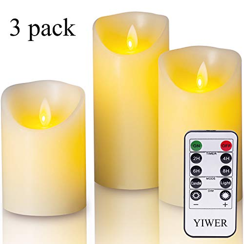 YIWER Flameless Candles, 4' 5' 6' Set of 3 Real Wax Not Plastic Pillars, Include Realistic Dancing...