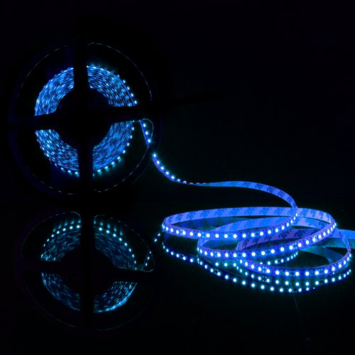 ABI Double Density Blue Flexible LED Light Strip with AC Adapter, 120 LED / Meter LED Chips, 5 Meters / 16.4 FT Spool, (Abi Kit)