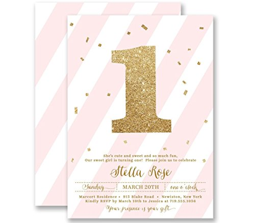 Girls 1st Birthday Invitations Blush Pink Striped Gold Glitter Look Any Age Personalized Boutique Invites with Envelopes - Stella style ()