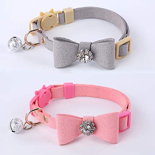 GOPET Adjustable Cat Collar Set Breakaway with Diamonds Bowtie Bell for Puppy Kitten (2 Pack)