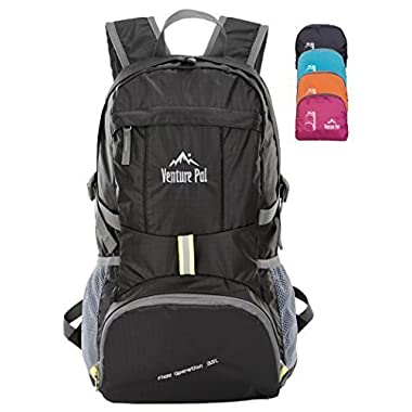 Venture Pal Ultralight Lightweight Packable Foldable Waterproof Travel Camping Hiking Outdoor Sports Backpack Daypack + Lifetime Warranty Black
