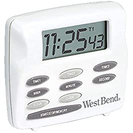 West Bend Easy to Read Digital Magnetic Kitchen Timer Features Large Display and Electronic Alarm, One size, White