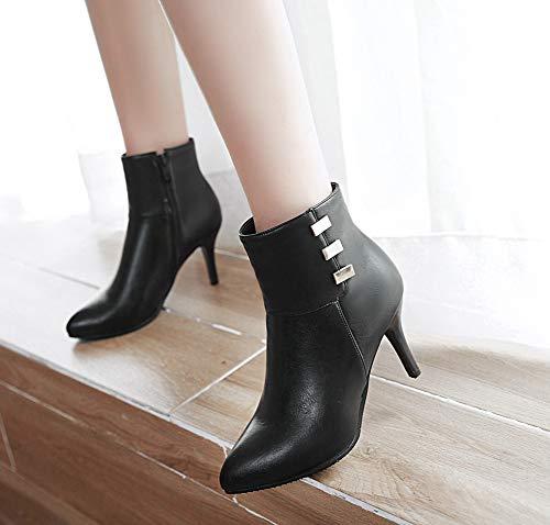Bout Aisun Mode Femme Décoratif Noir Bottines Métal Stiletto Pointu qpTUwxzpn4